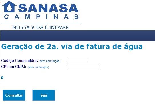Sanasa segunda via da conta