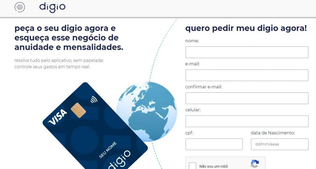 Solicitar cartão de crédito Digio